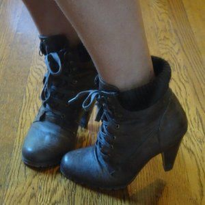Brown Leather Bootie Heels (Forever 21)